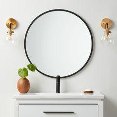 Millwood Pines Kacey Wall Mirror   Wayfair.ca Round Wall Mirror, Round Mirrors, Framed Mirrors, Mirror Mirror, Single Bathroom Vanity, Bathroom Mirrors, Master Bathroom, Bathroom Ideas, Bathrooms