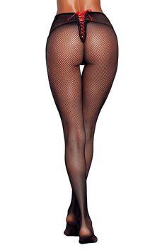 Black Satin Lace-up Detail Fishnet Pantyhose Stockings