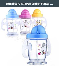 """Durable Children Baby Straw Cup Drink Bottles Sippy Cups Handles Cute 200ML. Easy to clean with a removable section. Suitable temperature: -20 ~ 120 degrees. Size: 13.5*6.5cm/5.31""""*2.56"""" (Hight*Diameter). Color random delivery."""
