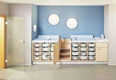 Holz-Wickeltisch / mit Badewanne / für berufliche Nutzung / für Kindergarten - COMPOSITION MEUBLE CHANGE INDIVIDUEL - HABA France