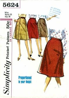1960s Simplicity 5624 Pattern Womens Gored Skirt  Misses Vintage Sewing Pattern Waist 26 Hip 36 UNCUT. $8.99, via Etsy.