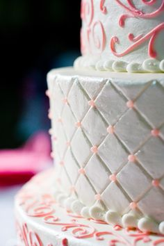 Diamond impression and scroll work wedding cake, photography by @Randy Rosenthal Olive and @Ellen Page Olive cake by www.virginiascakes.com