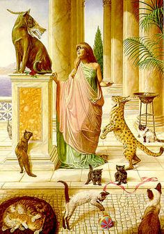 Egyptian goddess Bast changes herself into a cat each night. Goddess of independence and intuition. Bast Goddess, Egyptian Cat Goddess, Egyptian Mythology, Egyptian Art, Egyptian Women, Ancient Goddesses, Gods And Goddesses, Gatos Cats, Sacred Feminine