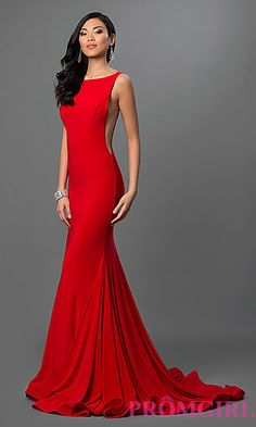 Jovani Floor Length Open Back Dress