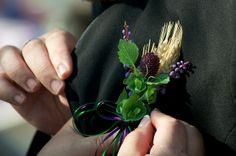 Wheat boutonniere! Add hops, a small white rosebud, and a superhero!!