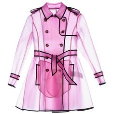 Transparent Trench Coats ❤ liked on Polyvore featuring outerwear, coats, clear trench coat, pink coat, clear coat, pink trench coat and trench coat
