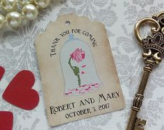 key beauty and the beast wedding favors