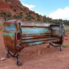 Vintage Trucks Truck bed bench - a genuine trash to treasure find! - Trash to Treasure Re-Purposing Hacks - DIY ideas for creating something new out of something old. Car Part Furniture, Automotive Furniture, Furniture Design, Garage Furniture, Furniture Stores, Garage Interior, Furniture Buyers, Furniture Dolly, Furniture Removal