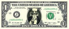 UNCLE SAM - Real Dollar Bill Cash Money Collectible Memorabilia Celebrity Novelty by Vincent-the-Artist, $7.77 USD