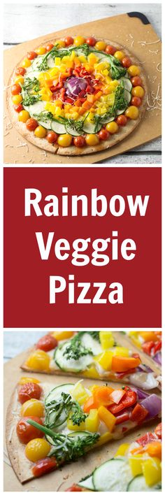 Savor the Flavor of Eating Right with this rainbow pizza!Who knew a pizza could be so healthy? Not only was this pizza fun to make but it was super tasty as well. Veggie Pizza, Healthy Pizza, Healthy Cooking, Healthy Eating, Cooking Recipes, Rainbow Pizza, Rainbow Food, Mexican Food Recipes, Vegetarian Recipes