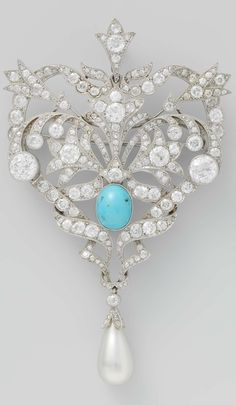 A Belle Epoque platinum, diamond, turquoise and pearl brooch, French, 1880-1910…