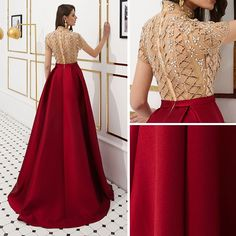 Luxury / Gorgeous Vintage / Retro Red See-through Evening Dresses 2019 A-Line / Princess High Neck Short Sleeve Rhinestone Beading Floor-Length / Long Ruffle Satin Formal Dresses Satin Formal Dress, Long Formal Gowns, Formal Dresses, Prom Dresses With Sleeves, Homecoming Dresses, Indian Designer Outfits, Designer Dresses, Formal Dress Patterns, Wedding Outfits For Women