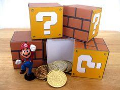 Super Mario Question Block Papercraft Party Favor