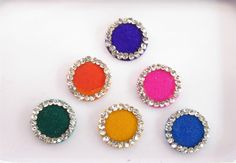 Plain Round Colored Bindis Studded With Silver by Beauteshoppe