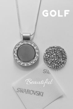 """Ball Marker Necklace - Swarovski Gems - Beauty """"on and off"""" the course. Love Sparkle, Golf Gifts, Pink Design, Golf Accessories, Stylish Jewelry, Golf Fashion, Ladies Golf, Custom Jewelry, Markers"""