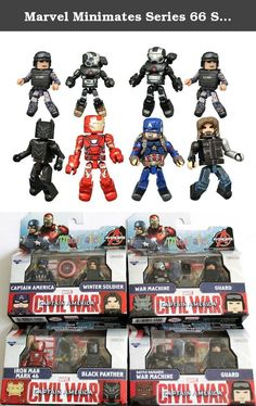Marvel Minimates Series 66 Set of 4 Civil War 2 packs: Captain America, Winter Soldier, Iron Man Mark 46, Black Panther, War Machine & Navy Seal. A Diamond Select Toys Release! The Civil War has begun! The first assortment of Marvel Minimates based on the movie Captain America: Civil War features both sides of the oncoming superhero conflict! Four different two-packs include Captain America with Winter Soldier, Iron Man with Black Panther, the comic shop-exclusive War Machine with Navy…