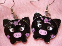 Big Eye Pig with Purple Flowers Earrings by GreenBohemia on Etsy, $5.00
