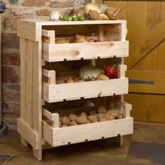 Build a mobile kitchen island unit with timber crate pantry storage! Build a mobile kitchen island unit with timber crate pantry storage! Fruit Storage, Pantry Storage, Diy Storage, Storage Ideas, Kitchen Storage, Crate Storage, Storage Rack, Food Storage, Onion Storage