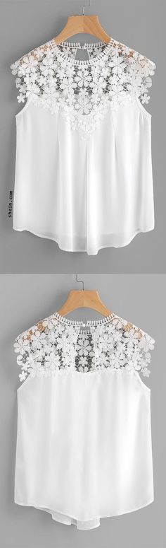 Shop Keyhole Back Daisy Lace Shoulder Shell Top online. SHEIN offers Keyhole Back Daisy Lace Shoulder Shell Top & more to fit your fashionable needs. Look Fashion, Womens Fashion, Fashion Design, Shell Tops, Diy Clothing, Look Chic, African Fashion, Blouse Designs, Ideias Fashion