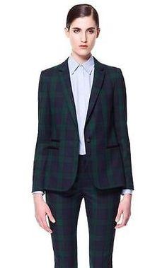 ZARA green blue tartan plaid faux leather trim jacket blazer size M NWT