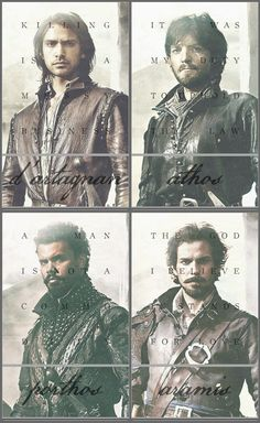 The Musketeers - Character quote set. Hot men clad in leather.....