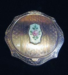 Vintage 1920's Silver Art Deco Compact with Guilloche cartouche in center, McRae & Keeler