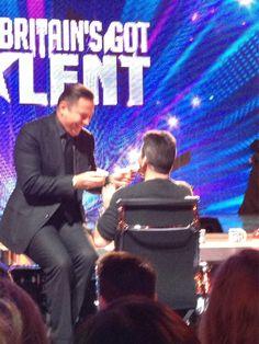 David Walliams feeds Simon ice cream. BGT Britain's Got Talent, Love Simon, Stand Up Comedians, Simon Cowell, Judges, Damon, Good People, Savage, My Idol
