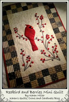 Redbird and Berries Mini QuiltTutorial on the Moda Bake Shop. http://www.modabakeshop.com