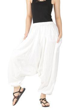 CandyHusky's Men Women 100% Cotton Baggy Boho Yoga Harem Pants (Black) at Amazon Men's Clothing store: Casual Pants