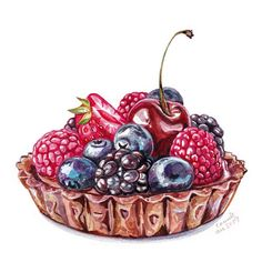 I have completed a few jobs over the last 2 months and I cannot wait to show you guys! Cute Food, Yummy Food, Desserts Drawing, Diy Cadeau Noel, Dessert Illustration, Food Sketch, Watercolor Food, Food Wallpaper, Food Painting