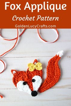 Learn how to make this cute crochet Fox applique! The face of this Fox is made in the shape of a heart, and it will be perfect for Valentine's Day decorations. Crochet Fox, All Free Crochet, Cute Crochet, Crochet Motif, Crochet Designs, Double Crochet, Single Crochet, Crochet Flowers, Crochet Hooks