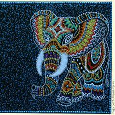 Dot Art Painting, Mandala Painting, Stone Painting, Mandala Dots, Mandala Design, Glue Art, Mandala Painted Rocks, Magic Design, Elephant Art