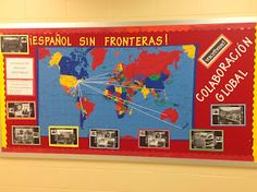 One day I will make this board for my class. With string connecting the country to the name and/or flag for an interactive board.