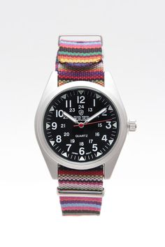 Prep Black Dial Patterned Band Watch 2.0mm Band
