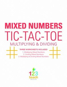 Practice Multiplying and Dividing Mixed Numbers while playing Tic Tac Toe!  Your kids will love this differentiated activity!