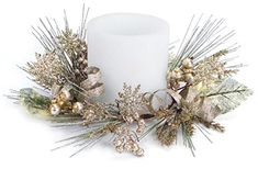 Pack of 4 Artificial Pine Christmas Candle Rings with Snowflakes and Ribbon 65 >>> For more information, visit image link. (This is an affiliate link) Christmas Candle Rings, Christmas Candle Holders, Gold Christmas, Simple Christmas, Christmas Tablescapes, Christmas Decorations, Table Decorations, Home Accents, 5 D