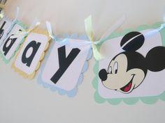 Baby Mickey Mouse First Birthday Banner by PocketFullofGlitter. $26.00, via Etsy.