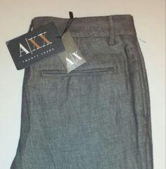 """Look"" New w Tags Armani Exchange Dress Trousers/Pants Gray Cotton/Linen Size 6 #AXArmaniExchange #DressPants"