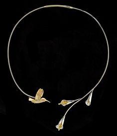 Hummingbird Neckpiece: 18k yellow gold, 14k white gold