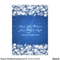 Elegant Wedding Dazzling Stars Blue 5x7 Paper Invitation Card