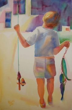 Boy Done Fishing, painting by artist Kay Smith