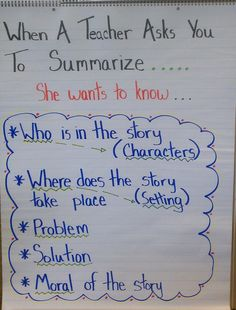 Thoughts of a Third Grade Teacher: Charts and Posters Everywhere! - When a Teacher Asks You to Summarize... (This blog has lots of great ideas)