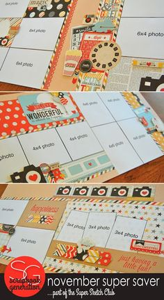 ilike the cluster of embellishments on top sketch SCRAPBOOK GENERATION: Super-Saver layouts for Saturday!