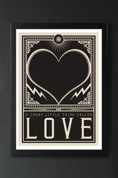 A Rockett St George exclusive design, the Crazy Little Thing Called Love Art Print is a lovely addition to your home or gift for a friend or loved one. Modern Art Prints, Wall Art Prints, Music Wall Art, Rockett St George, Queen, Typography Art, Affordable Art, Wow Products, White Art