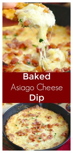 Baked Asiago Cheese Dip Baked Asiago Cheese Dip – A quick and easy dip recipe perfect for a party. Asiago cheese, cream cheese, and bacon baked together and served with baguette. Quick Appetizers, Easy Appetizer Recipes, Appetizer Dips, Snack Recipes, Cooking Recipes, Soup Recipes, Recipies, Party Appetizers, Recipes Dinner
