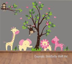 Baby Wall Decals - 155 - Nursery Wall Decals - Monkey Wall Decal. $209.95, via Etsy.