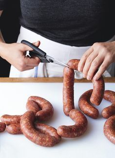 """HOMEMADE SAUSAGE PRIMER ~~~ several recipes, grilling tips, and equipment suggestions shared from, """"the meat hook"""" in brooklyn, new york. Homemade Sausage Recipes, Meat Recipes, Cooking Recipes, Bratwurst Recipes, Recipies, Cooking Tips, Chicken Recipes, Charcuterie, Home Made Sausage"""