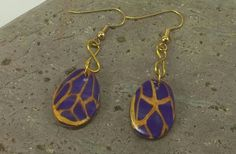 Purple and gold bead earrings - Item E1051 - Polymer Clay Jewelry - Clay Jewelry - Art Jewelry - Gift Idea - Jewelry Gift - pinned by pin4etsy.com