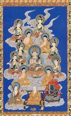 The 13 Buddhas : 1. Acalanatha Luminous King 2. Sakyamuni Buddha 3. Manjusri Bodhisattva 4. Samantabhadra Bodhisattva 5. Ksitigarbha Bodhisattva 6. Maitreya Bodhisattva 7. Bhaisajya-guru Buddha 8. Avalokitesvara Bodhisattva 9. Mahastamaprapta Bodhisattva 10. Amitabha Buddha 11. Aksobhya Buddha 12. Vairocana Buddha 13. Akasagarbha Bodhisattva