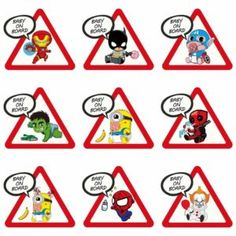 Superhero Stickers: Baby On Board Car Decals Cartoon Design, Funny Design, Spiderman Backpack, Yellow Minion, Superhero Stories, Avengers Characters, Marvel Shirt, Cartoon Stickers, Pvc Material